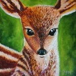 """Conversation With The Spirit Of A Deer"". Oil painting on canvas."