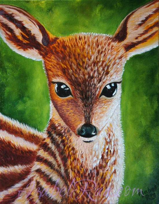 """Conversation With The Spirit Of A Deer"". Oil painting on canvas. © Izabel Raa, 2016"