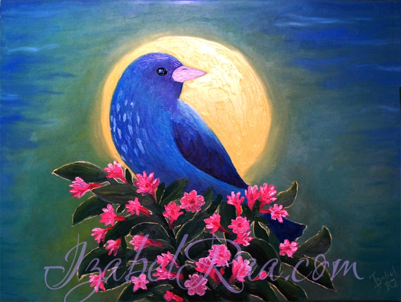 """Full-moon Blue Bird"" Oil painting on canvas."