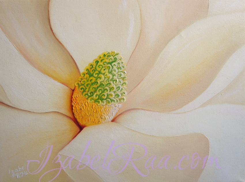 """Magnolia"". Oil painting on canvas."