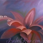 Morning Violet Flower. Oil painting on canvas