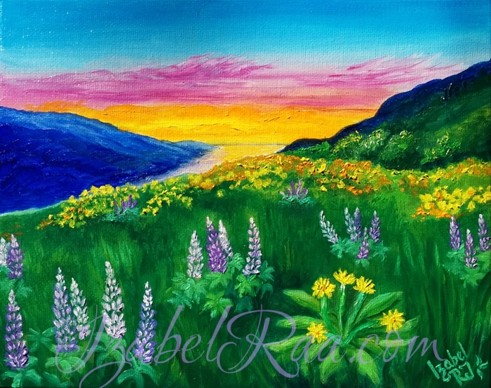 """Wild Mountain Flowers"". Oil painting on canvas panel."