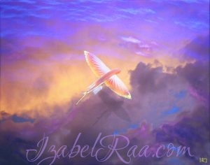 """Flights to the Marigenous Sky"", giclée of digital art, printed on canvas + oil painting. Izabel Raa"