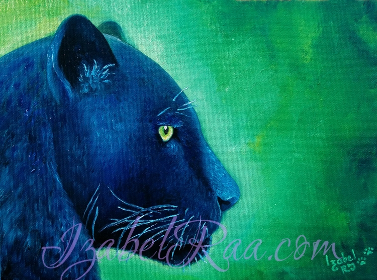 """Soul of Black Jaguar"". Oil painting on canvas panel."