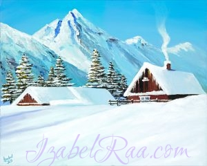 """Sunny Day in the Mountains"". Original oil painting on canvas. Izabel Raa"