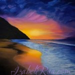 """Sunset on the Island"". Oil painting on canvas."
