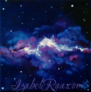 """The Universe of Violets"". Original oil painting on canvas. Izabel Raa"