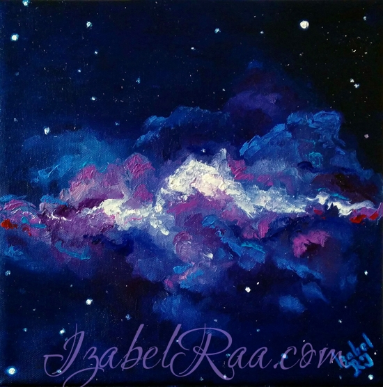 """The Universe of Violets"". Oil painting on canvas."