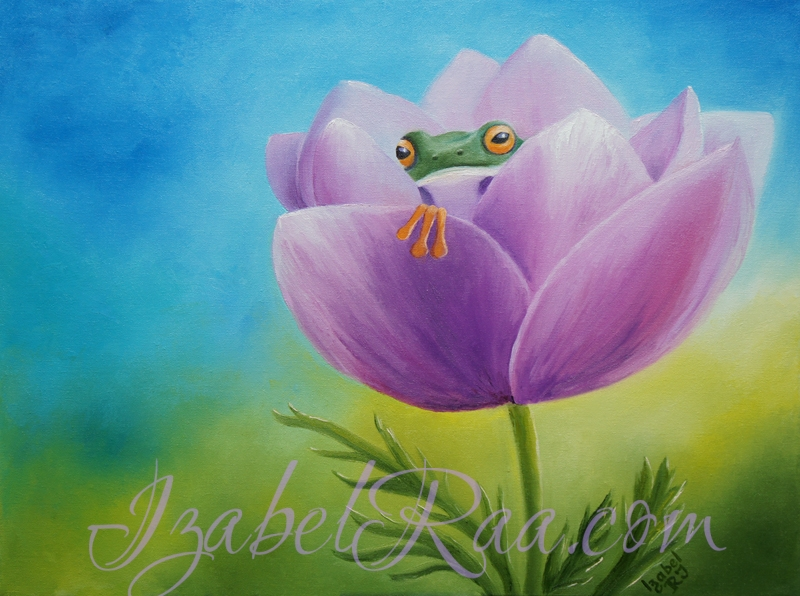 """The House of Cute Little Frogling"". Oil painting on canvas."