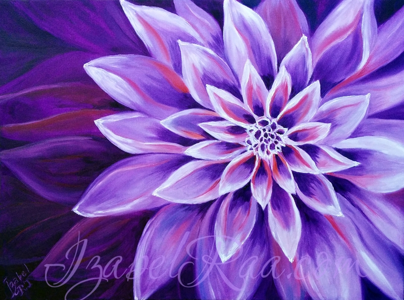 """Violet Universe"", or ""La Flamme Féminine"" Oil painting on canvas."
