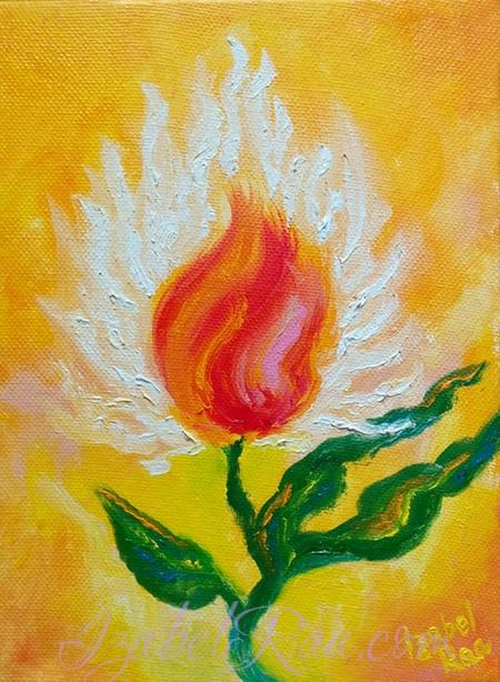 """Fiery Heart"". Energy portrait. Original oil painting on canvas."
