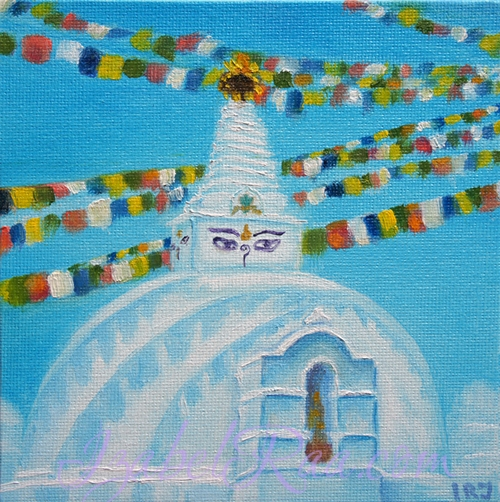 """Stupa"". Oil painting on canvas panel."