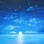 Moonlight Song. Oil painting on canvas panel. Izabel Raa Jan