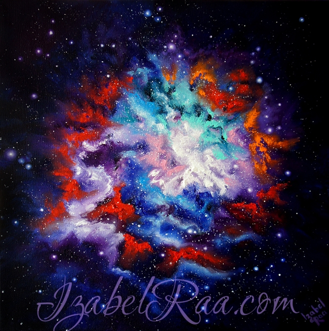 """Cosmic Bloom"". Oil painting on canvas. (c) Izabel Raa"