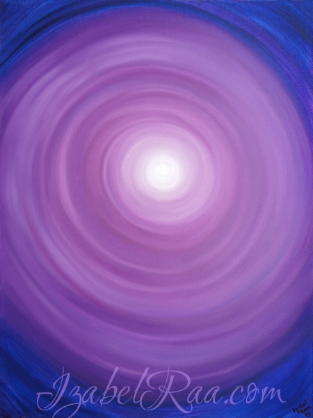 """The Portal of the Violet Flame. Spiritual Channel of Cosmos"". Oil painting. Izabel Raa, 2017"