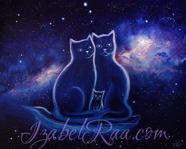 """Family of Cosmic Cats"", or ""Eternal Love"". Oil painting. (c) Izabel Raa"
