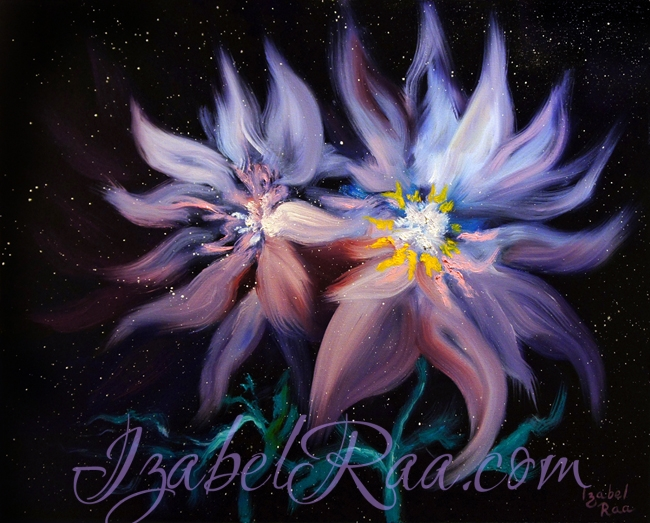 """Cosmic Love"", or ""Twin Flames"". Oil painting. (c) Izabel Raa"