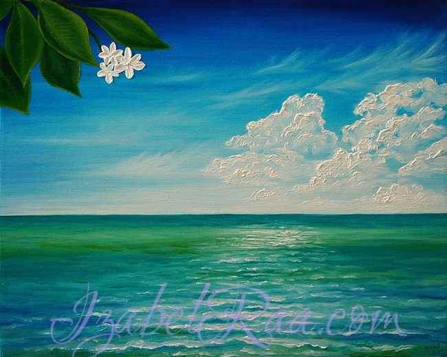 """Ocean of Joy, Peace and Serenity"". Oil painting on canvas. (c) Izabel Raa, 2018"