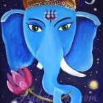 """Ganesha"". Acrylic painting on canvas panel. © Izabel Raa, 2018"