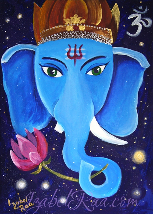 """Ganesha"". Acrylic painting on canvas panel. © Izabel Raa, 2018"
