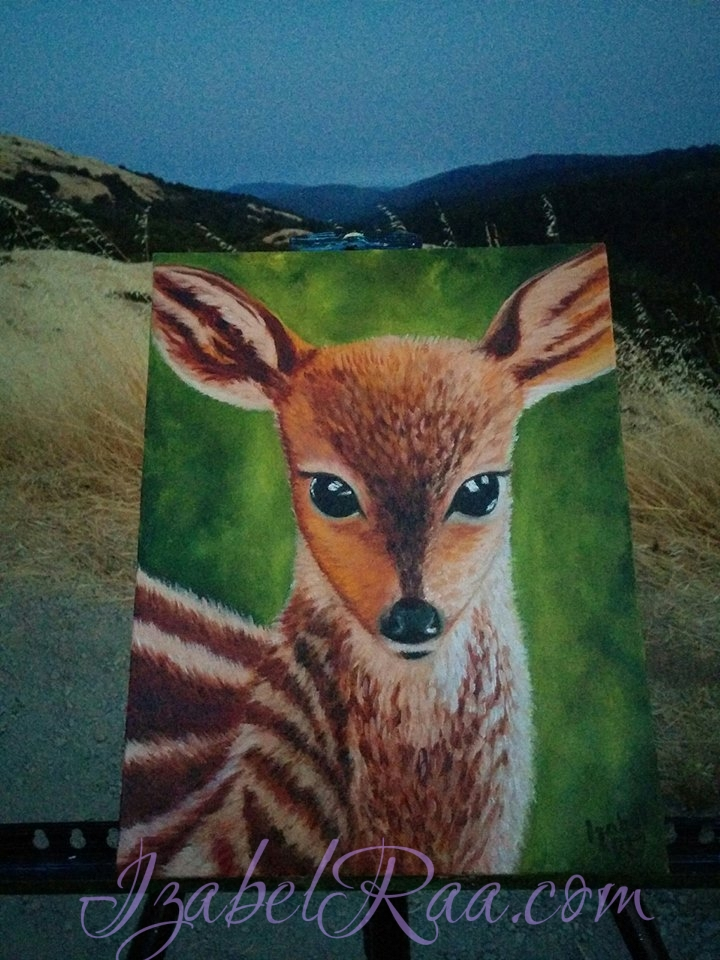 "Creating the painting ""Conversation With The Spirit Of A Deer"" in the mountains of California. © Izabel Raa, 2016"