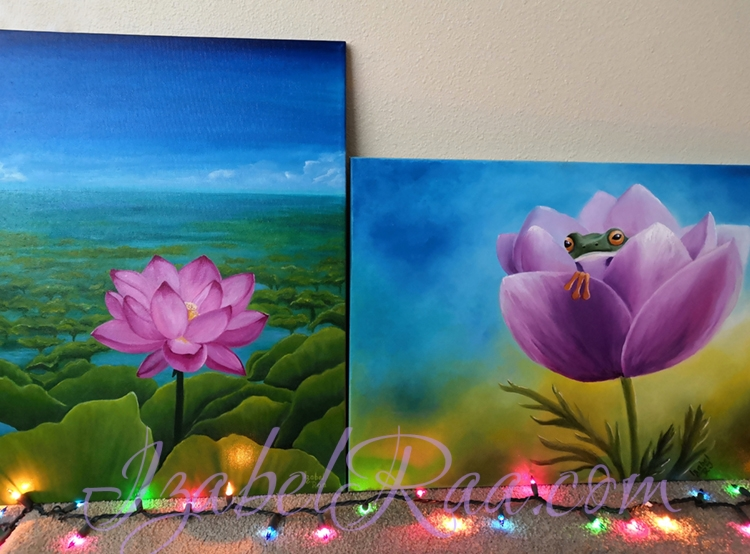 """AUM"" and ""The House of Cute Little Frogling"". Oil paintings on canvas. © Izabel Raa"