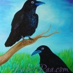 """Two Crows, or Raven's Wisdom"". Oil painting on canvas. © Izabel Raa, 2017"