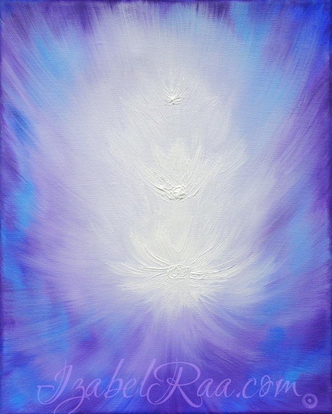 """Archangels Zadkiel and Metatron and the Violet Flame"". Oil painting on canvas. © Izabel Raa, 2019"