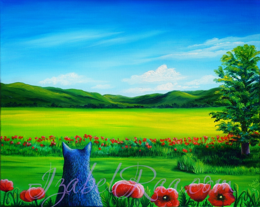 """Noir, Poppies and Serenity"", or ""My Provence"". Oil painting on canvas. © Izabel Raa, 2019"