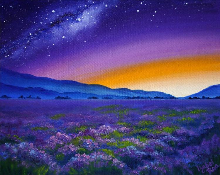 """Provence at Night"". Oil painting on canvas panel. © Izabel Raa, 2019"