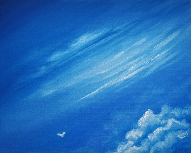 """Vayu"", or ""Breath of Sky"". Oil painting on canvas panel. © Izabel Raa, 2019"
