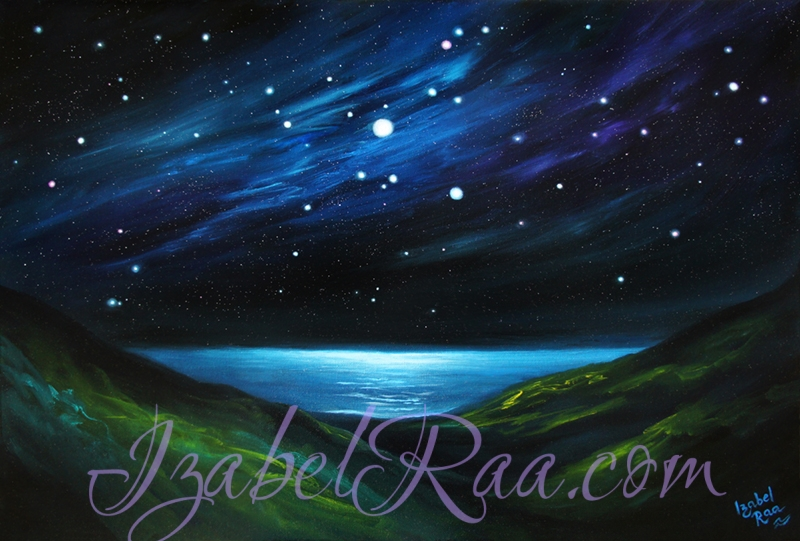 """Star Symphony Over ""Sea Chalice"" (""Симфония звёзд над ""Морской Чашей""). Oil painting on canvas. © Izabel Raa, 2020"