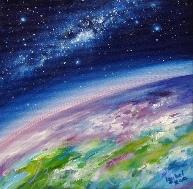 """5th Dimensional Earth"" (""Земля 5го Измерения""). Oil painting on canvas panel. © Izabel Raa, 2020"