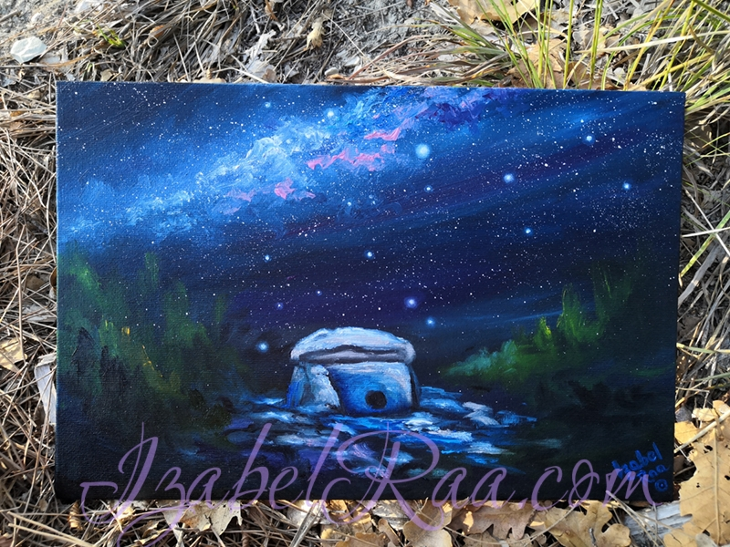 """Star Dolmen. The Strength of Spirit"" (""Звездный Дольмен. Сила Духа""). Oil painting on canvas. © Izabel Raa, 2020"