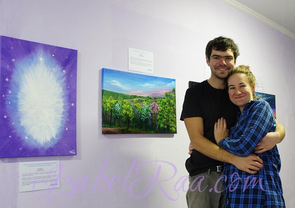 Igor and Anna, the first visitors to the exhibition / Игорь и Анна - первые посетители выставки :)