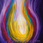 """Rainbow Light of the Higher Self"", or ""Flame of Eternal Life"" (""Пламя вечной жизни"", или ""Радужный свет Высшего Я""). Oil painting on canvas panel. © Izabel Raa, 2021"