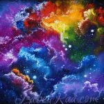 """""""Quasars of Light in a Shimmering and Shining Void"""" (""""Квазары света в мерцающей и сияющей Пустоте""""). Oil painting on canvas. © Izabel Raa, 2021"""
