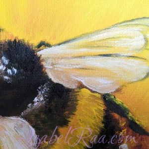 """""""Sunny Bumblebee"""" close-up. Oil painting on canvas panel. © Izabel Raa, 2021"""