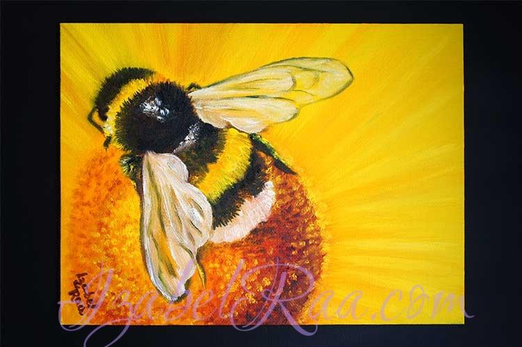 """Sunny Bumblebee"" (""Солнечный шмель""). Oil painting on canvas panel. © Izabel Raa, 2021"
